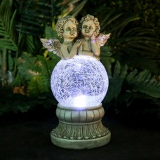 Solar Cherub  Angels on LED Crackled Glass
