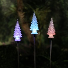 """34"""" Solar Christmas Tree Stake w/ Color Changing LED"""