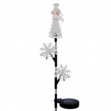 """33"""" Solar Snowman and Snowflakes Christmas Stake with LED Lights"""