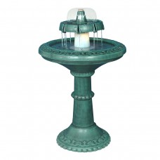 "37"" Tall 2-Tier Floor Fountain with Halogen Light"