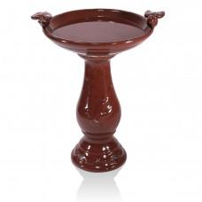 "24"" Tall Red Antique Ceramic Birdbath"