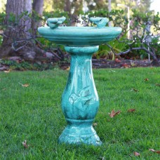 Antique Light Turquoise Ceramic Birdbath