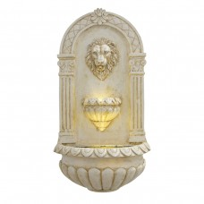"31"" Classical Walled Fountain with Lion Head and LED Lights"