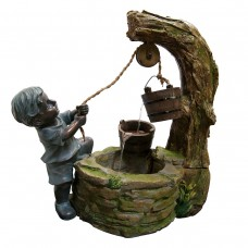 "Alpine 23"" Tall Boy Fetching Water Fountain"