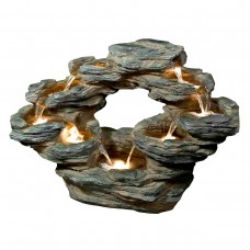 Cascading Rock Fountain with LED Lights