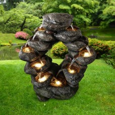 7-Tiered Cascading Rock Fountain with LED Lights