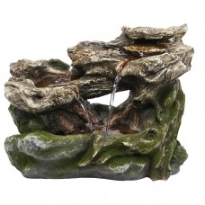 "10"" 3-Tier Mossy Tabletop Rock Fountain and LED Lights"