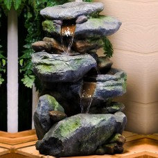 "Alpine 22"" Tall Rock Waterfall Fountain with LED Lights"