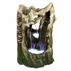 "22"" Tall Alpine Cascading Tree Trunk Fountain w/ LED Lights"