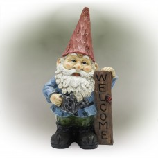 """12"""" Red Hat Gnome Garden Statue with Vertical WELCOME Sign"""