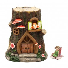 Stump Resin Fairy House w/Solar with Accessory