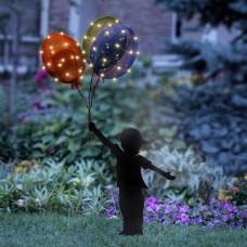 Solar Boy Silhouette with Colorful Balloons Garden Stake