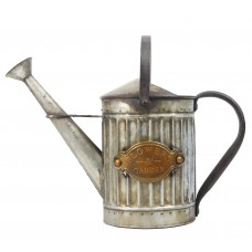 """12"""" Vintage Metal Watering Can Planter with Rustic Finish"""