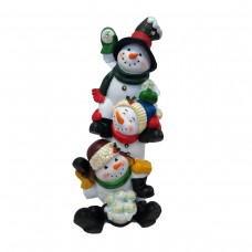 "13"" Three Snowmen Statuary with Color Changing LED"