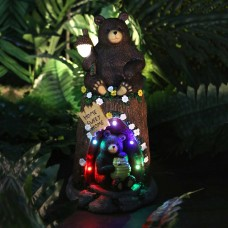 "12"" Bear Statue with Color Changing LED Lights"