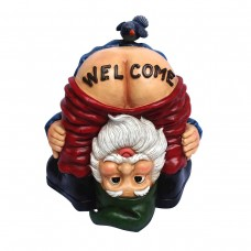 Welcome your guests in a funny and humorous way, with this 22 inch tall mooning welcome gnome statue with bird