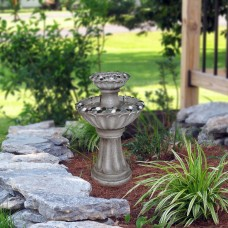 "24"" Grey Two Tier Pedestal Fountain With Decorative Stones"
