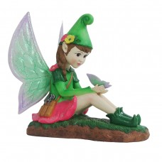 "17"" Solar Shaylee Fairy Statue with Butterfly and LED Light"