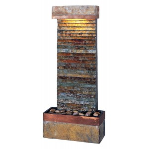 "32"" Tall Tacora Horizontal Fountain in Natural Slate Finish with Copper Accents 