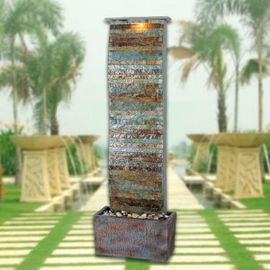 """49"""" Tall Curvature Slate Floor Fountain in Natural Slate Finish 