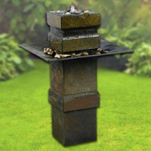 """33"""" Tall Cubist Floor Fountain in Natural Slate Finish"""