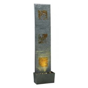 """47"""" Tall Traverse Floor Fountain in Natural Green Slate with Natural Copper Accents   Water Wall"""