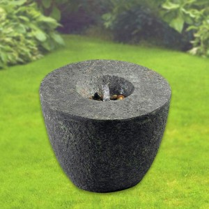 "24"" Tall Magma Outdoor Floor Fountain in Natural Rock Finish"