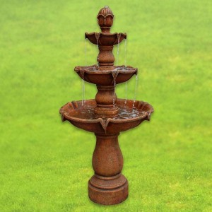 "62"" Tall Sherwood Outdoor Floor Fountain in Dusty Travertine Finish"