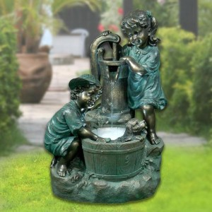 "34"" Tall Bronze Old-Fashioned Pump Fountain with 2 Kids and LED Lights"