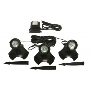 Illumination 3-Set 20 Watt Landscape & Pond Lights w/ Transformer and Stakes