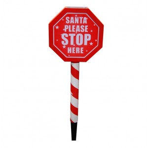 "18"" Tall Solar LED ""Santa Please Stop Here"" Stake"