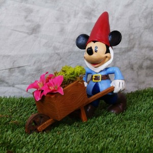 "9"" tall Disney's Mickey Mouse Gnome with cart statue"