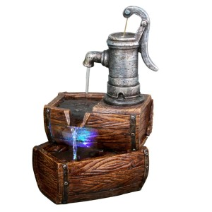 "14"" Tall Barrel Tabletop Fountain"