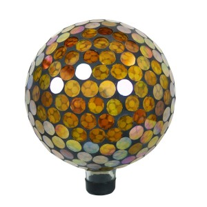 "10"" Mosaic Glass Gazing Globe Yellow Circles"