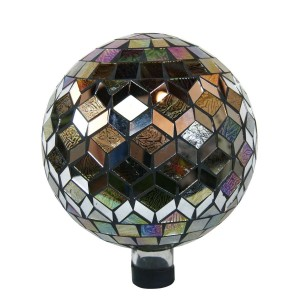 "10"" Mosaic Glass Gazing Globe Silver"