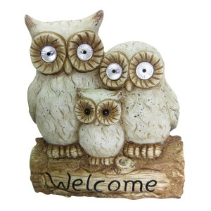 "16"" Solar Owl Family Welcome Statue"
