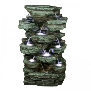 "39"" Tall Tiering Rocks Floor Fountain w/ LED Lights"