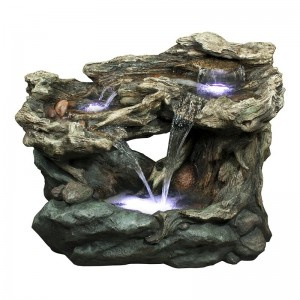 "30"" Tall Tiered Waterfall Rainforest Fountain w/ LED Lights"