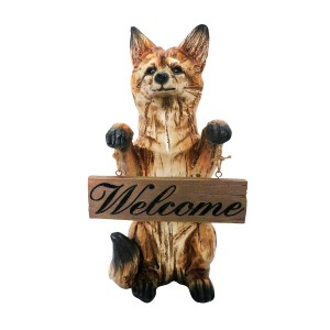 "Alpine 16"" Tall Standing Fox with ""Welcome"" Sign Statuary"