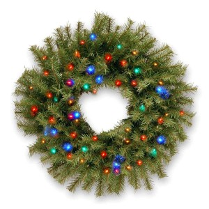 "24"" Norwood Fir Wreath w/50 Concave Multi Color LED Lights"