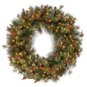 "30-36"" Wintry Pine Wreath with Clear Lights"