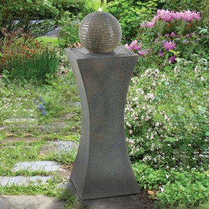 "39"" Tall Cannonade Outdoor Floor Fountain in Smoked Granite Finish"