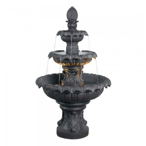 "46"" Tall Costa Brava Lighted Kenroy Home Outdoor Fountains – Plum Bronze Finish"