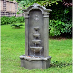 "44"" Tall Sienna Floor Fountain with Mossy Stone Finish"