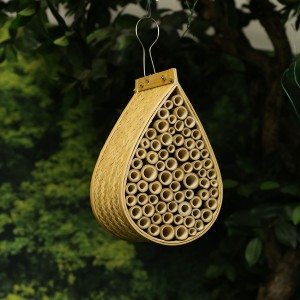 "14"" Natural Bamboo Mason Bee House Hanging Décor"