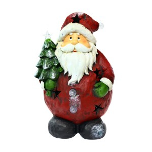 Santa Holding Tree Statue w/4 Color Changing LED