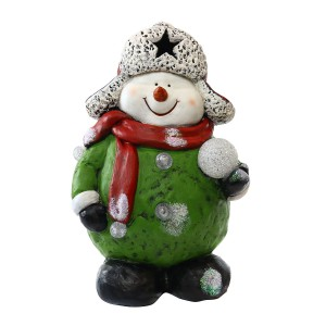 Snowman Holding Snowball Statue w/Color Changing LEDs