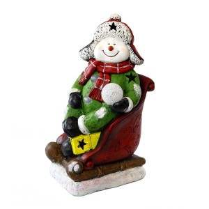 """19"""" Snowman on Sleigh w/3 Color Changing LED Lights"""