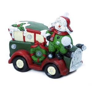 """13"""" Snowman on Car Statue w/7 Color Changing LED Lights"""