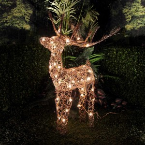"35"" Rattan Reindeer with 50 Halogen Lights"